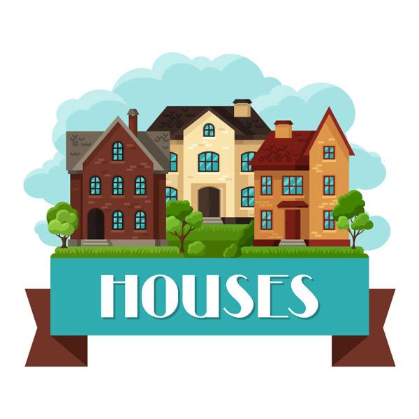 扁平化房屋与丝带矢量素材下载