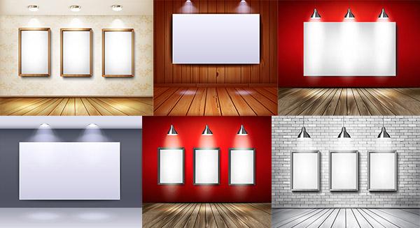 展板宣传栏,广告牌,灯光效果,聚光灯,画框,展示效果图,木板,墙壁,射灯