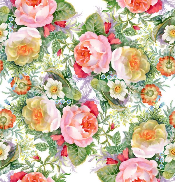 矢量背景所需点数: 0 点 关键词: 古典水彩鲜花无缝背景矢量素材