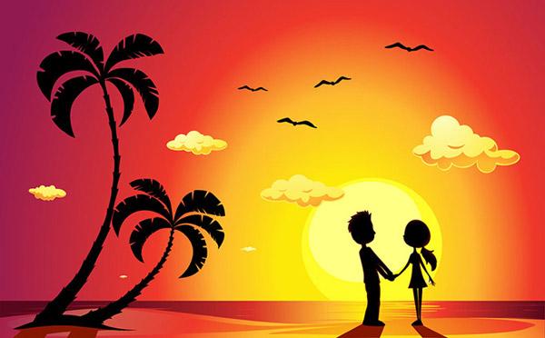 海滩,大海风景,日落,夕阳,椰树剪影,夏日主题,夏季主题,summer,情侣图片