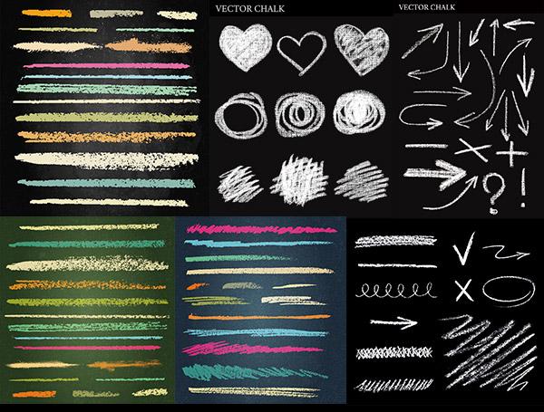 彩色,粉笔,笔刷,底纹背景,手绘线条,箭头,图案,图形,儿童教育,eps格式