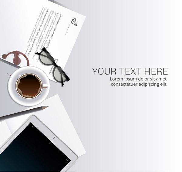 点 关键词: 简洁办公桌桌面矢量素材下载,眼镜,咖啡,咖啡渍,文件,平板