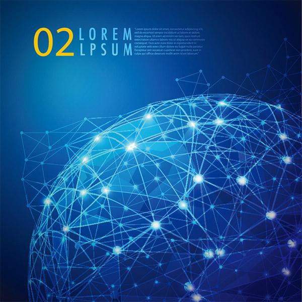 矢量素材,科幻主题,蓝色背景,三角形背景,科技背景,全球网络,信息网络
