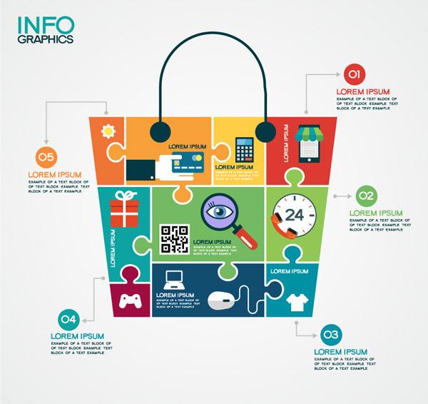 拼图购物袋商务信息图矢量素材下载