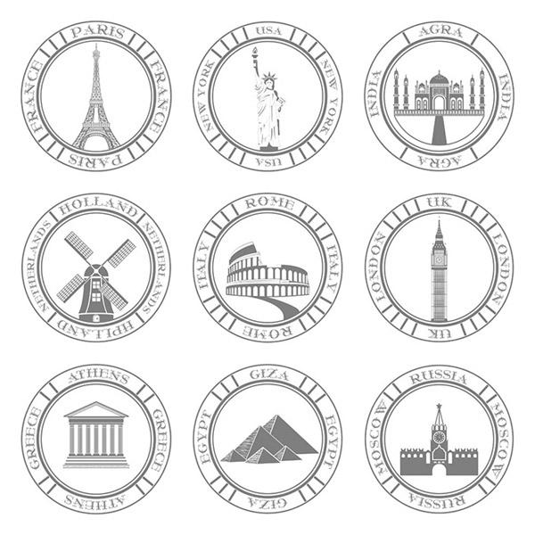 著名建筑图标_素材中国sccnn.com