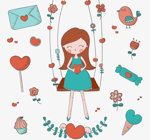 坐秋千的长发女孩矢量素材下载,情人节,爱心,秋千,鸟,花朵,女孩,糖果