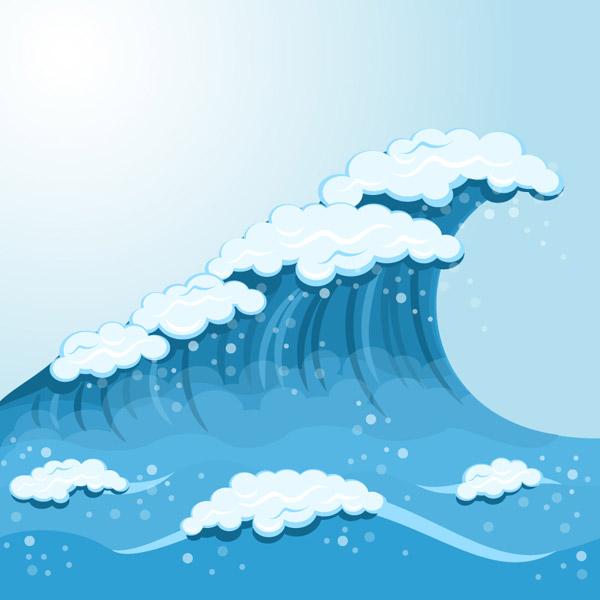蓝色海浪背景矢量素材下载