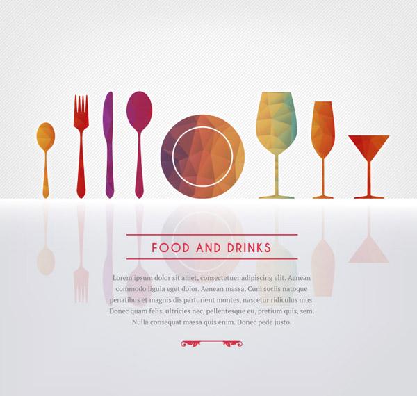 几何形餐具菜单