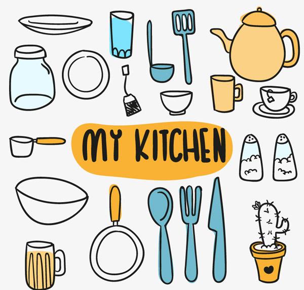 素材分类: 矢量餐具厨具所需点数: 0 点 关键词: 彩绘厨房元素矢量素