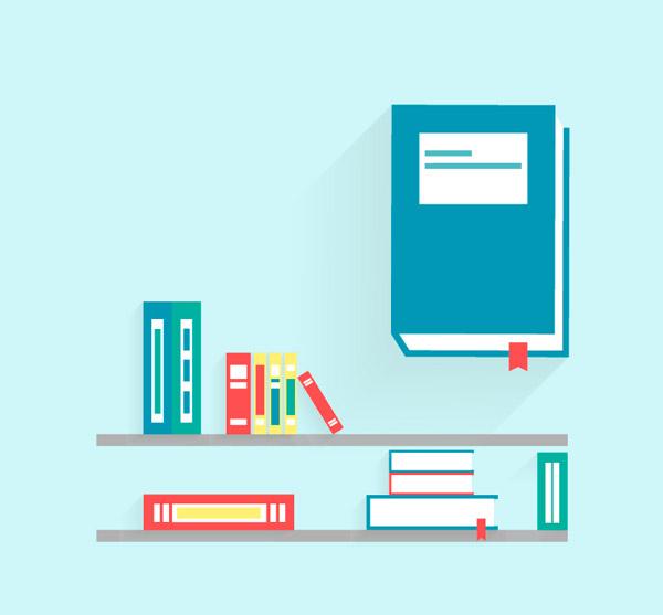卡通书架与书矢量素材下载