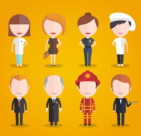 卡通职场人物设计矢量素材,护士,厨师,警察,牧师,法官,服务员,消防员图片