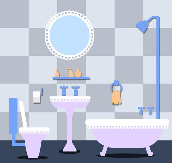 0 点 关键词: 蓝色系浴室设计矢量素材下载,镜子,洗漱用品,浴室,浴缸