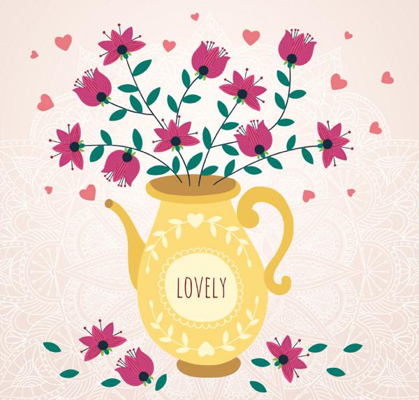 可爱水壶欧式花瓶矢量素材下载