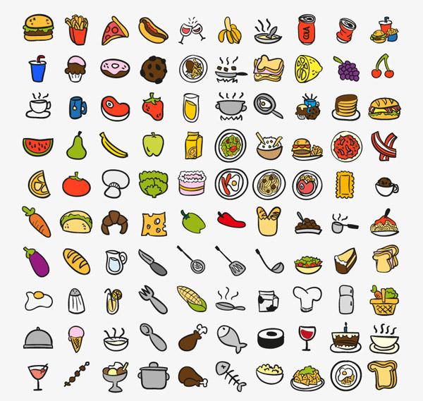 食品与厨房用品图标矢量素材下载