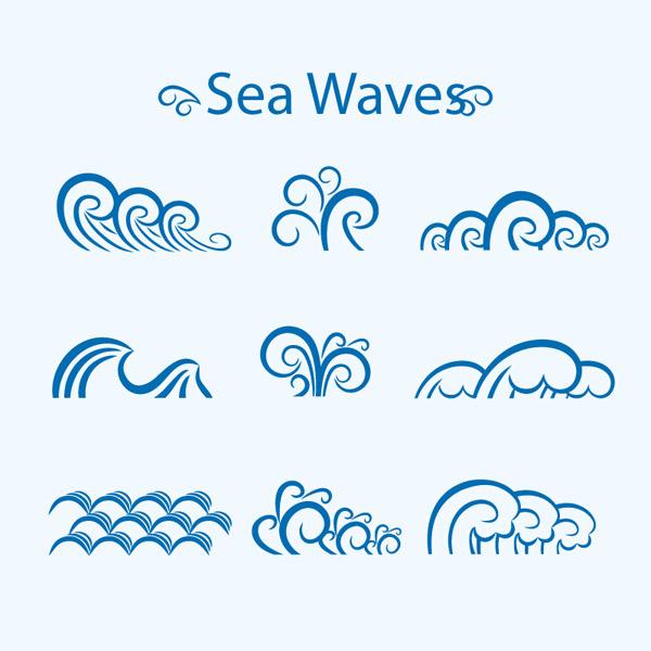 蓝色海浪设计矢量素材下载