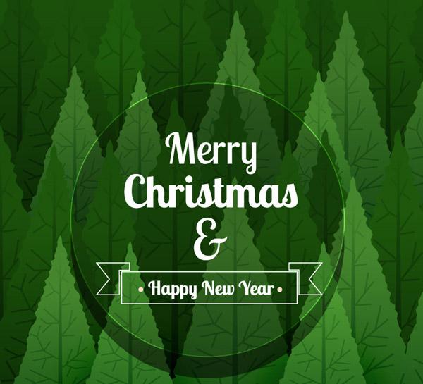 绿色树林圣诞贺卡
