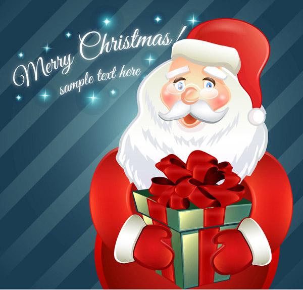 抱礼盒的圣诞老人