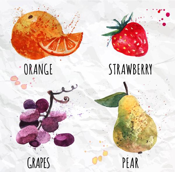 梨,水果,水彩