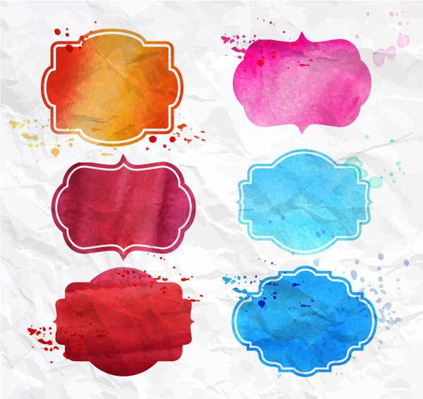 ps水彩纸素材-水彩绘空白标签