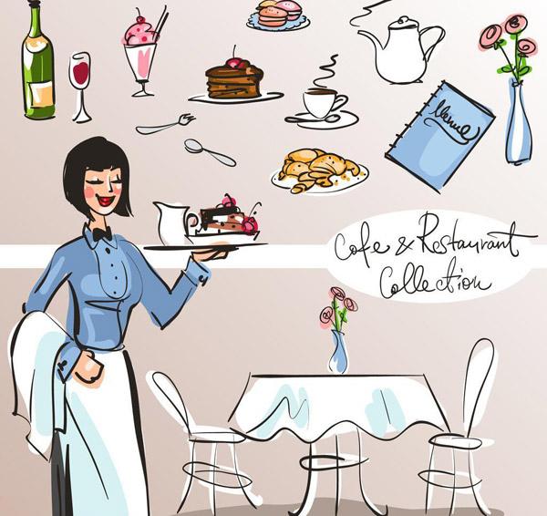 手绘餐厅服务员