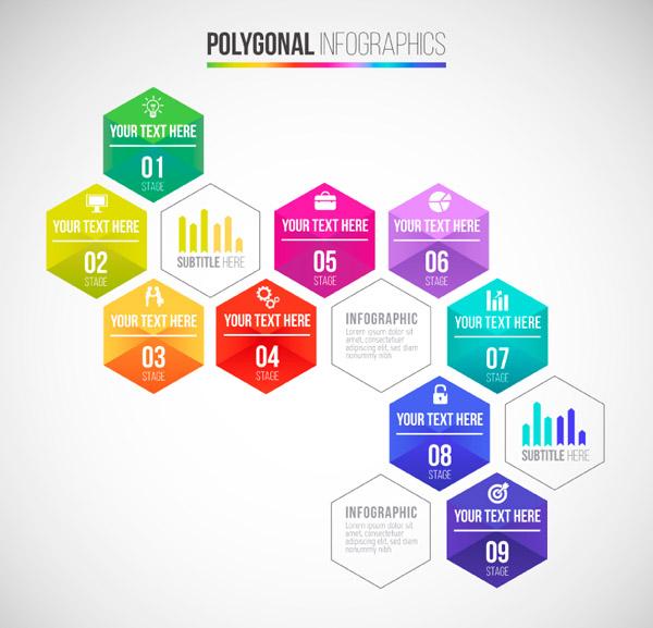 六边形商务信息图