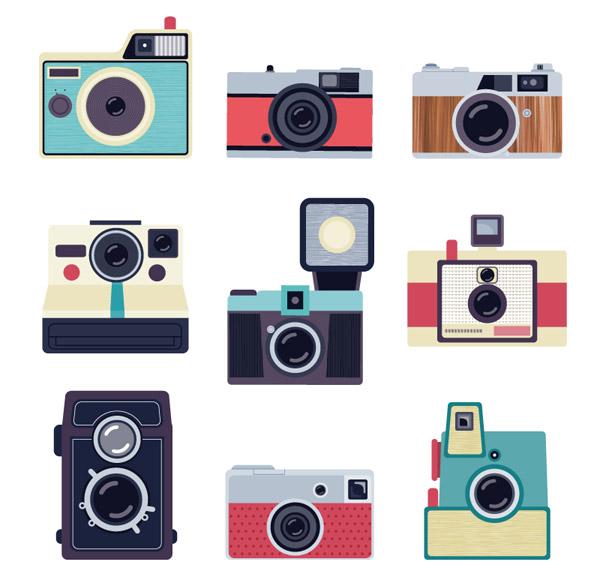 彩色复古照相机设计矢量素材下载