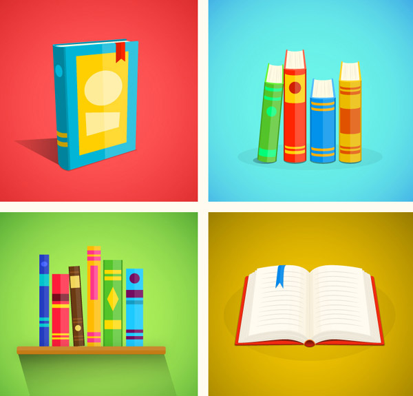 点 关键词: 彩色书本插画矢量素材下载,书,书籍,打开,学习,知识,阅读