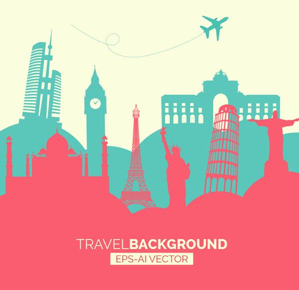 比萨斜塔,巴西基督像,泰姬陵,伊丽莎白塔,飞机,剪影,旅行,风景名胜