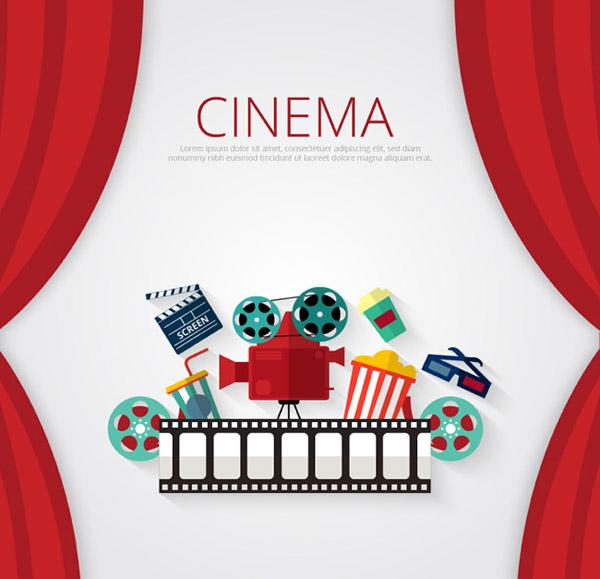 点 关键词: 电影元素设计矢量素材下载,幕布,电影胶片,放映机,场记板