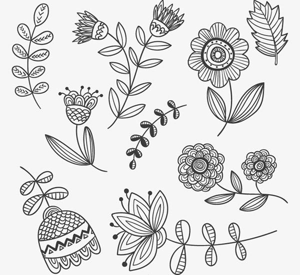 素材分类: 矢量花草树木所需点数: 0 点 关键词: 手绘花卉与叶子矢量