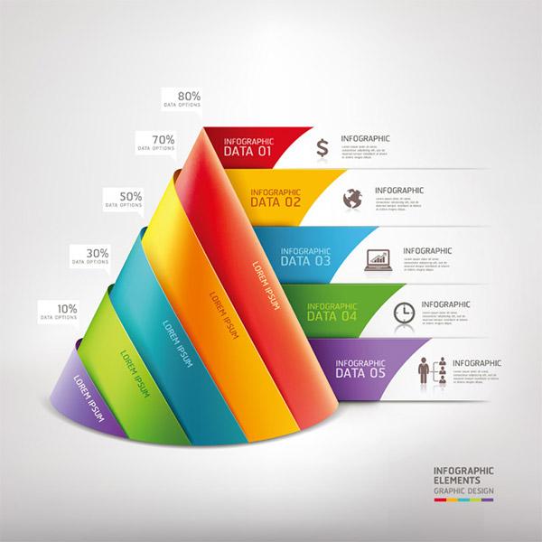 时尚折纸三角形商务图表矢量素材,三角形,立体图形,折纸,卷纸,创意
