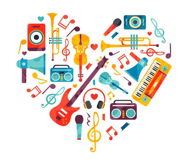 素材分类: 矢量设计元素所需点数: 0   点 关键词: 乐器组合的爱心图片