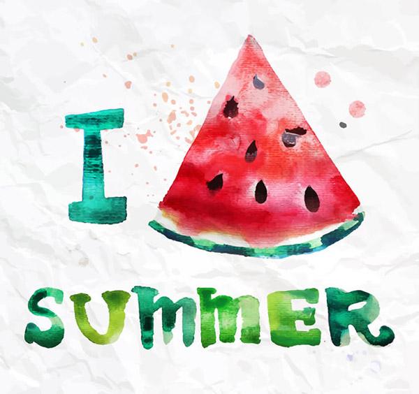 素材分类: 矢量水果所需点数: 0 点 关键词: 我爱夏天水彩西瓜矢量