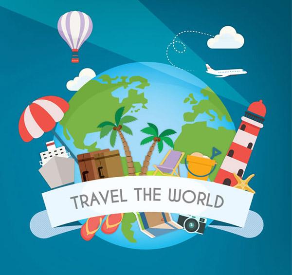 环球旅行插画矢量素材下载