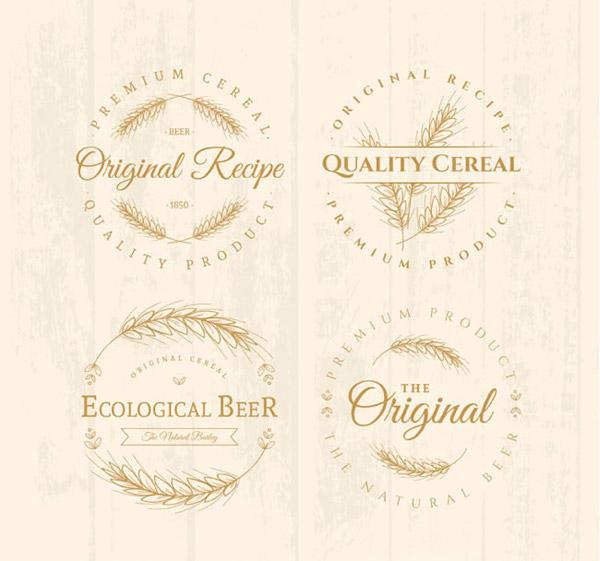 手绘啤酒标签矢量素材下载,大麦,啤酒,标签,木纹,小麦,矢量图,AI格式