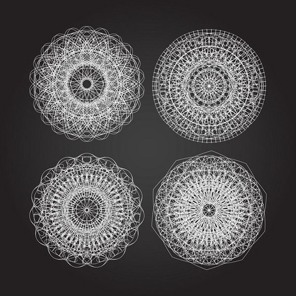 手绘圆盘图片黑白