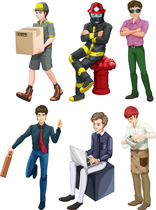 0 点 关键词: 时尚职业人物设计矢量素材,快递员,消防员,潮男,卡通图片