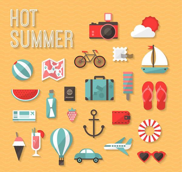 夏季图标矢量素材下载,照相机,云朵,太阳,单车,邮票,帆船,地图,沙滩球