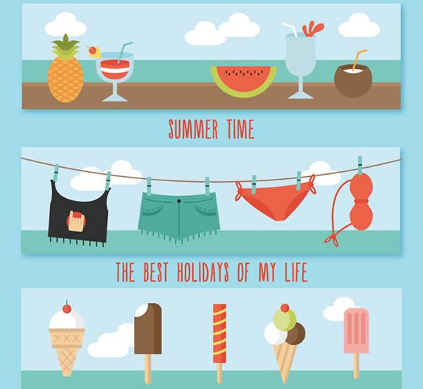 夏日食品元素矢量素材下载