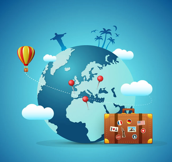巴西基督像,热气球,云朵,地球,环球,椰子树,旅行,行李箱,矢量图,ai
