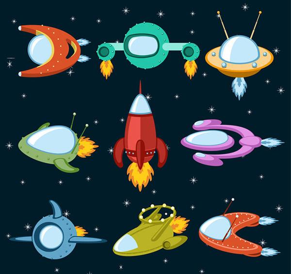 火箭图片儿童画太空画-卡通宇宙飞船图片
