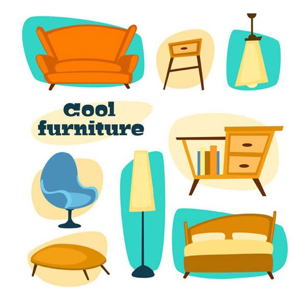 0 点 关键词: 时尚家具矢量素材下载,沙发,台灯,吊灯,书桌,椅子