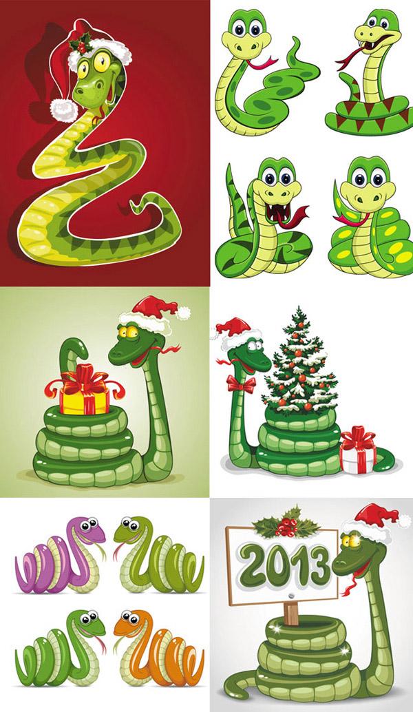 2013吉祥卡通蛇_矢量春节