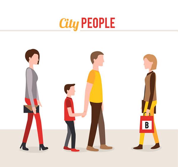 卡通城市人物