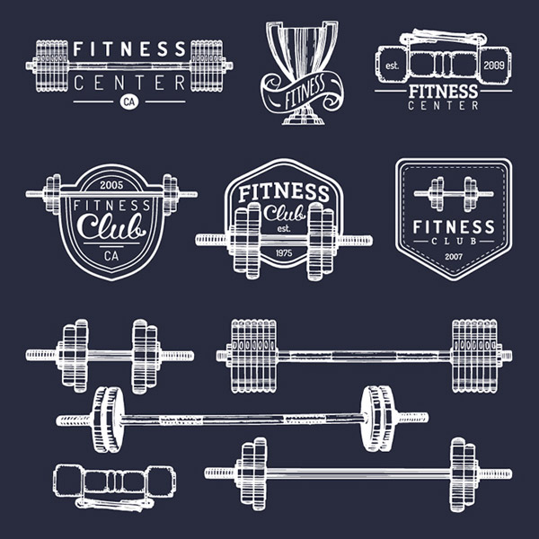 矢量体育运动所需点数: 0 点 关键词: 健身训练器材与标签矢量素材