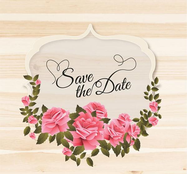 玫瑰花婚礼标签矢量素材下载