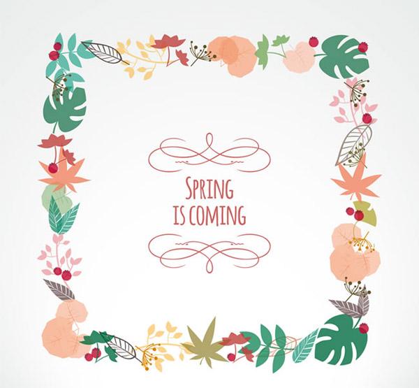 方形树叶框架矢量素材下载,枫叶,树叶,植物,果实,春,框架,边框,花纹