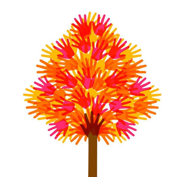 彩色手印树木