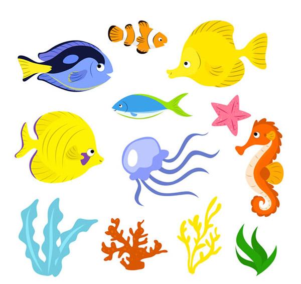 0 点 关键词: 卡通海洋生物矢量素材下载,小丑鱼,水母,海星,海马
