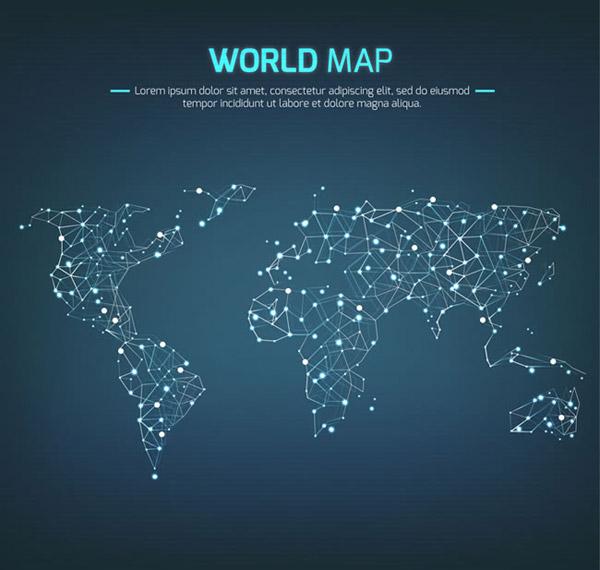 光点连线世界地图图片
